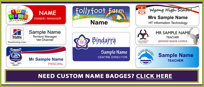 Custom Name badge printing Australia