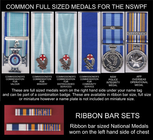 NSW Police Force Medels, Ribbons and Name Badges